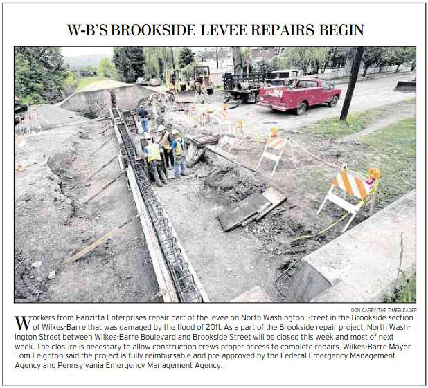 Panzitta Enterprises repair part of the levee